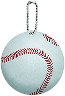 Baseball Round Luggage ID Tag Card Suitcase Carry-On
