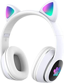 $22 » Doneioe L400 Over Ear Music Headset Glowing Cat Ear Headphones 7 Color Breathing Lights Foldable Wireless BT5.0 Earphone w...