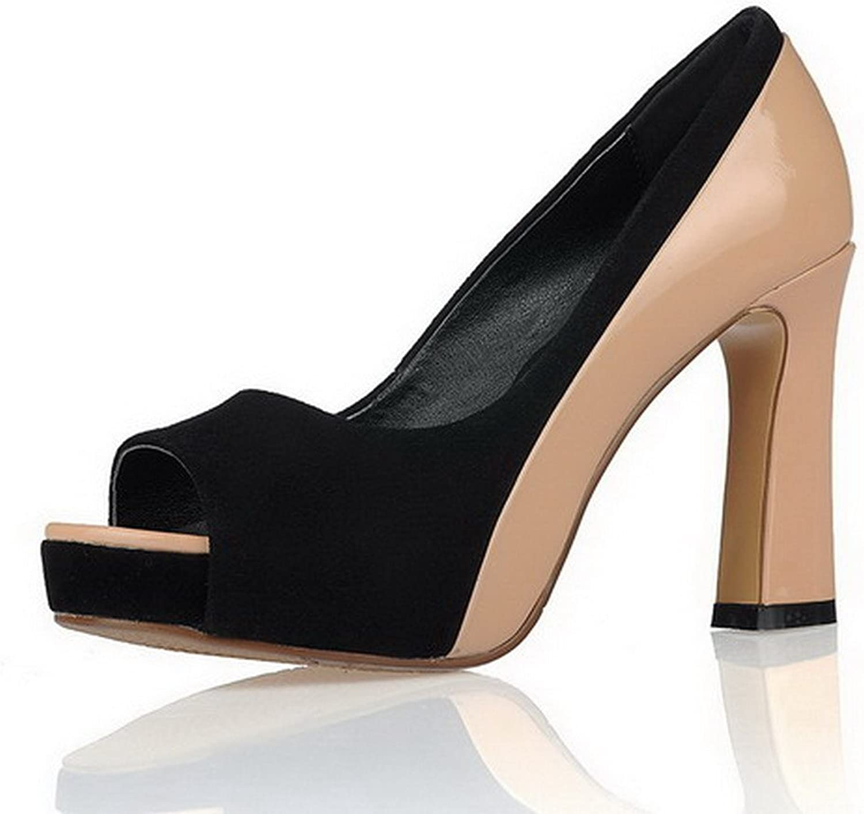 WeenFashion Women's Sheepskin Solid Pull On Peep Toe High Heels Sandals