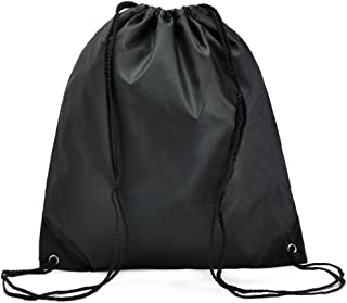 Bullidea Drawstring Bag Waterproof Solid Color Shoulder Backbag Gym Folding Bag for School Travel Or Sport(Black)