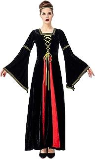 Mujeres Franela Vestido de Traje Medieval Renacentista Vestido con Manga Larga de Llamarada