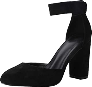 LAICIGO Women's Ankle Scalloped Strap Buckle Pump Sandals Pointed Toe Chunky Heeled Shoes