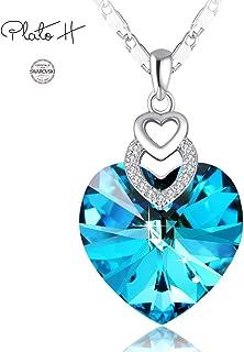PLATO H Heart Necklace Love Heart Necklace with Swarovski...