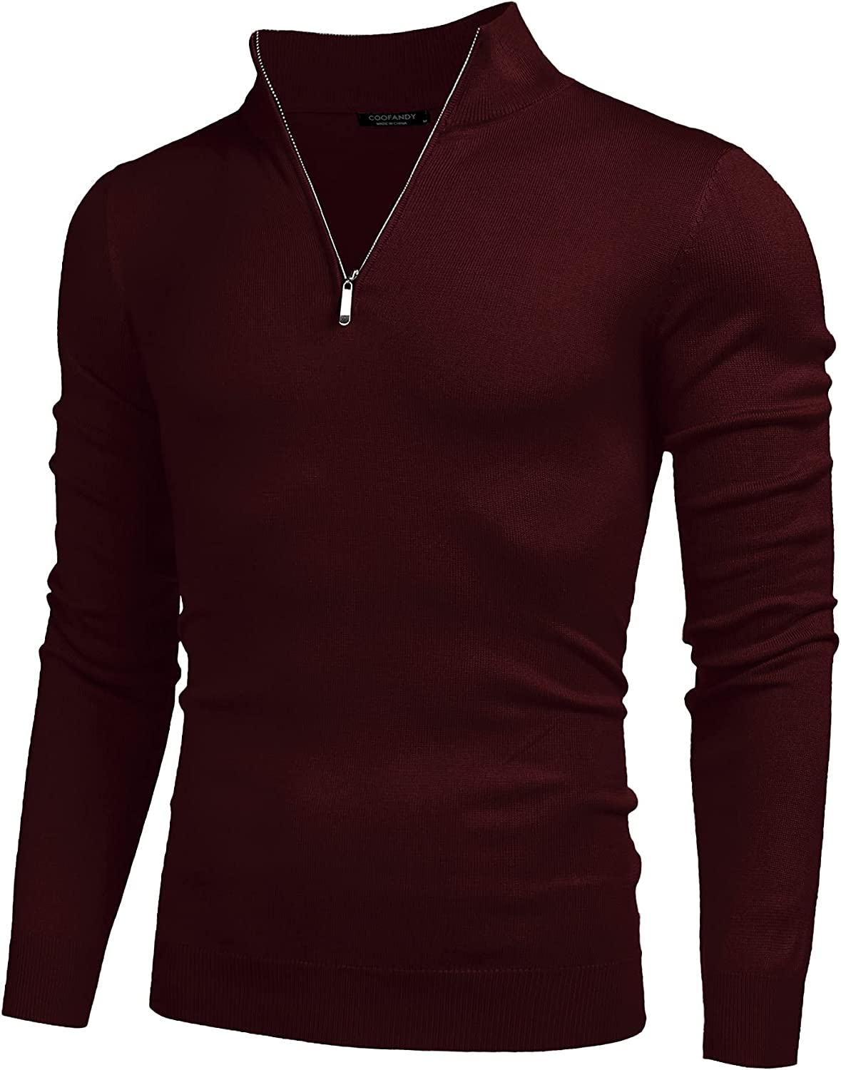 COOFANDY Men's Quarter Zip Up Sweaters Slim Fit Lightweight Mock Neck Pullover Casual Polo Sweater