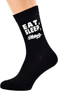Eat Sleep Motor Racing Car with Racing Car Image Design Mens Black Cotton Rich Socks