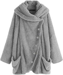 7ca93c41d2 HULKAY Womens Turtleneck Plush Coat,Upgrade Long Sleeve Button Cotton Jacket  Warm Slim Cloak Outwear