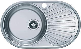 VBChome Einbauspüle 74x44 aus hochwertigem Edelstahl rundes Spülbecken mit Ablagefläche links rechts klassische Küchenspüle modernen Design Seidenglanz rechts