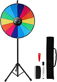 Voilamart 18/24 Inch Prize Wheel with Folding Tripod Floor Stand Height Adjustable 14 Slots Color Dry Erase Spin Wheel Spinner Game with Dry Erase & Marker Pen for Trade Show Fortune Spinning Game