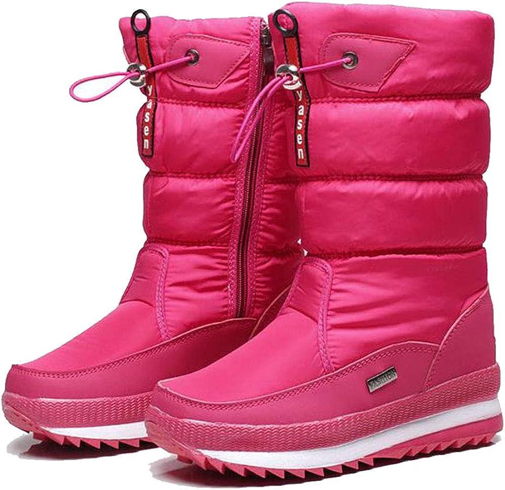 Allure love Women Winter Warm Anti-Slip Mid Calf Booties Waterproof Outdoor Snow Boots