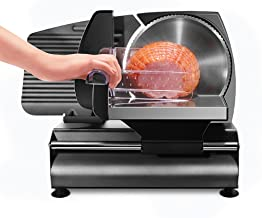 "Chefman Die-Cast Electric Deli/Food Slicer Precisely Cuts Meat Cheese, Bread, Fruit & Veggies, Adjustable Thickness Dial, Removable 7.5"" Serrated Stainless Steel Blade, Non-Slip Feet, Compact, Black"