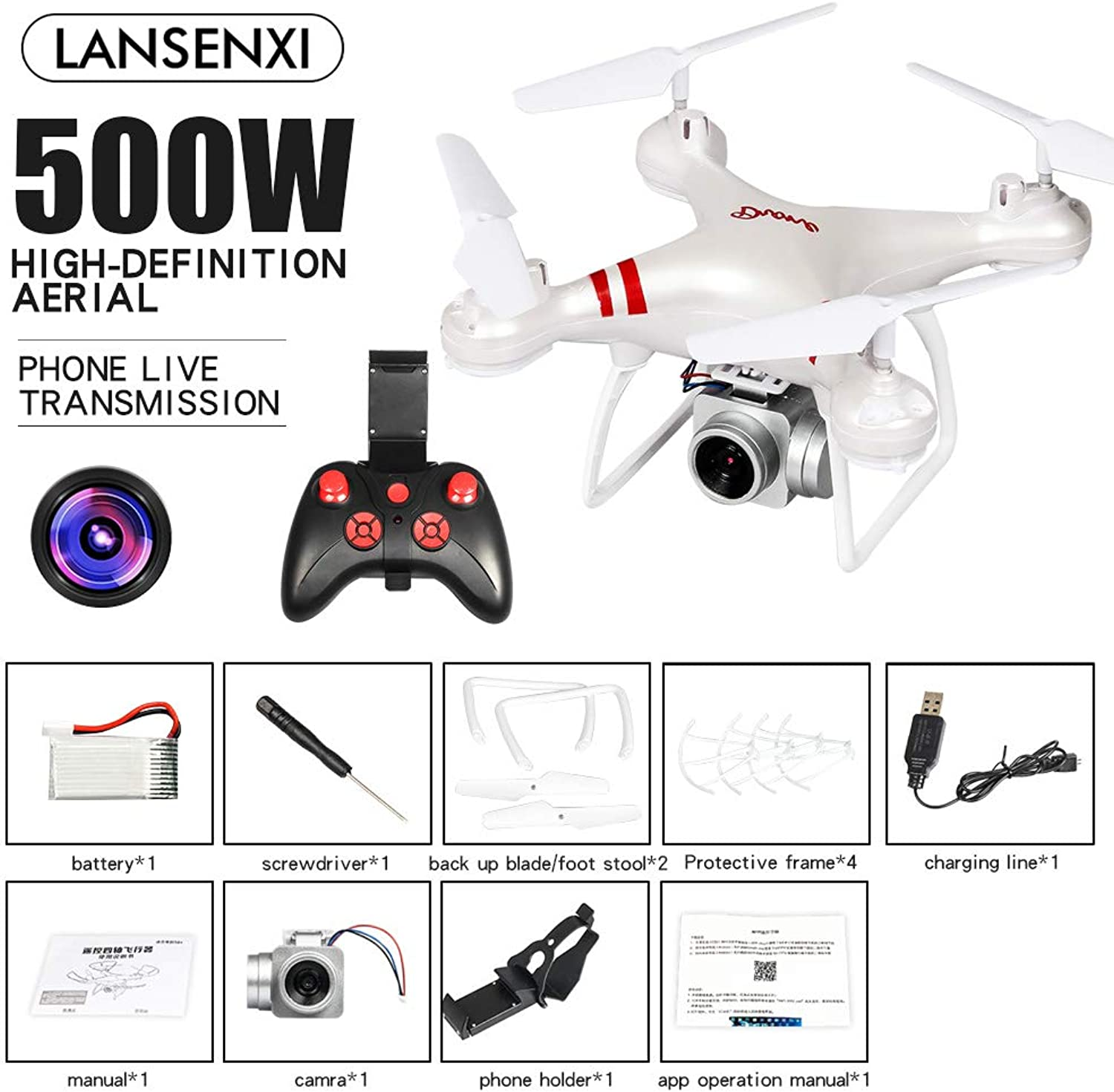 XuBa LF608 WiFi FPV RC Drone Quadcopter with 0.3MP 2.0MP 5.0MP Camera Get The Longer Playing Time White 5MP