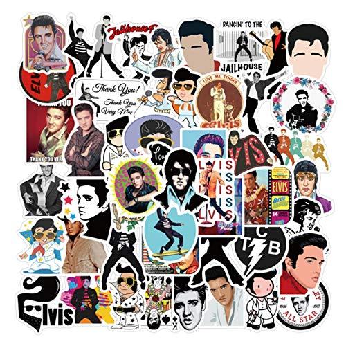 BUCUO Rock Singer Elvis Pres0 Doodle Monopatín Impermeable Maleta de Viaje Teléfono móvil Etiqueta de Equipaje Niños Lindos Chica 50 Uds