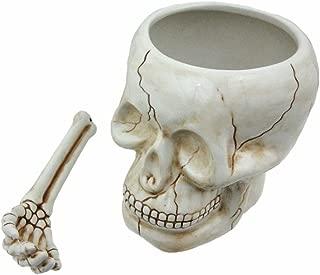 ArtMuseKitsMikash Cool Ceramic Skull Bowl W/Bone Spoon