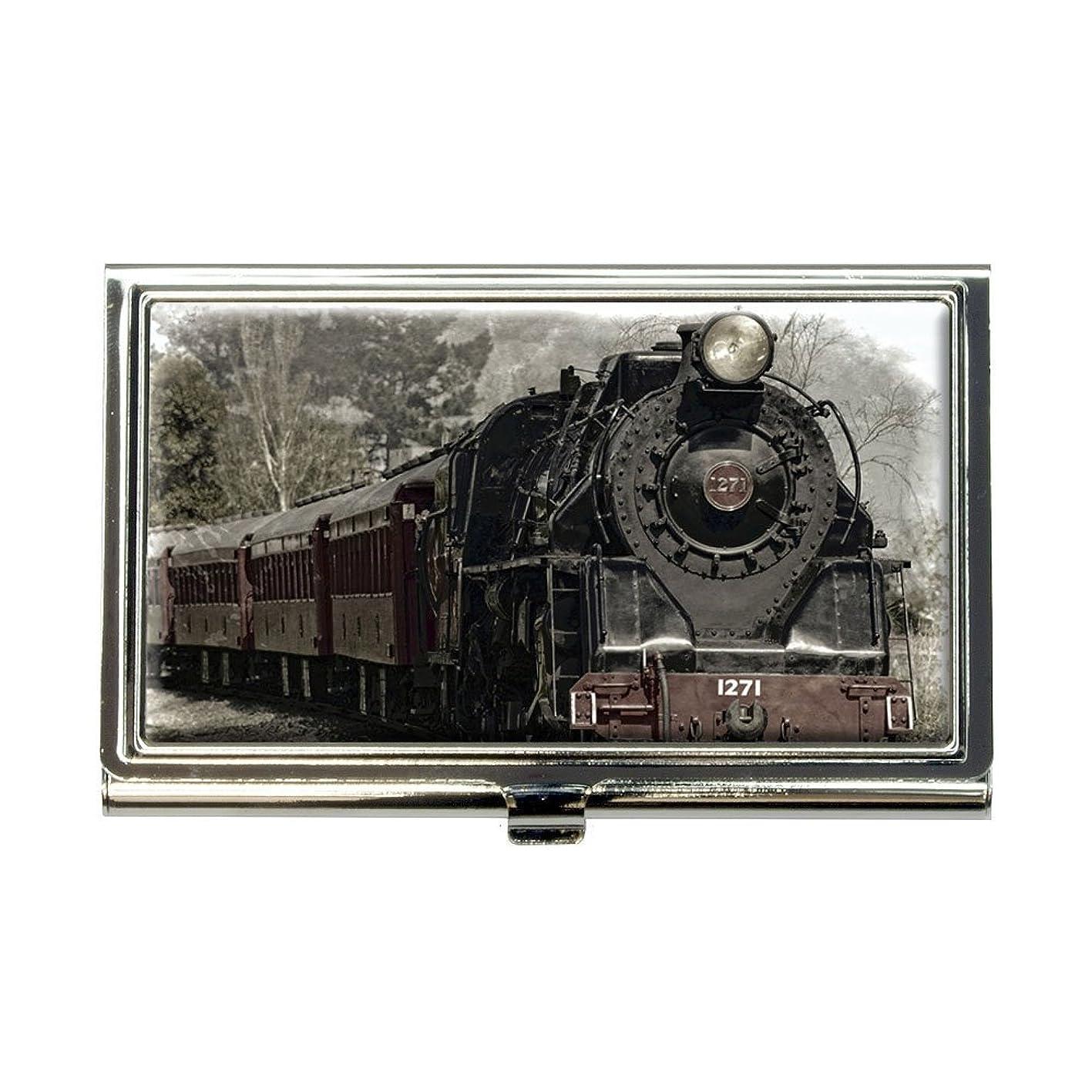 知覚できる上院議員ヘッジSteam Locomotive Train Railway鉄道ビジネスクレジットカードホルダーケース