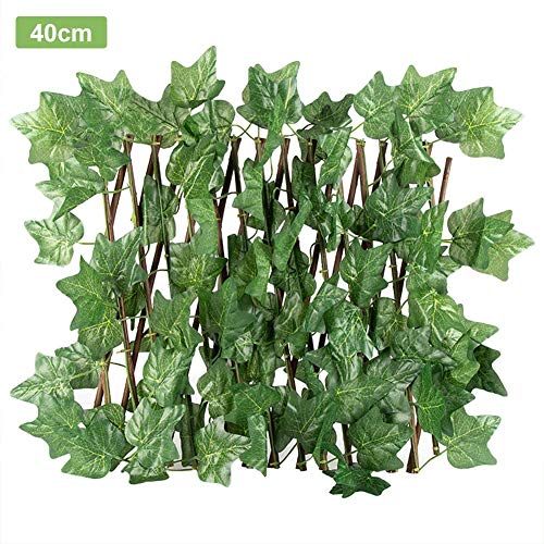 Artificial Hedge Roll, Expanded Wicker Grid With Ivy Green Leaves, Outdoor Garden Privacy Screen, Home Garden Outdoor Wall Decoration