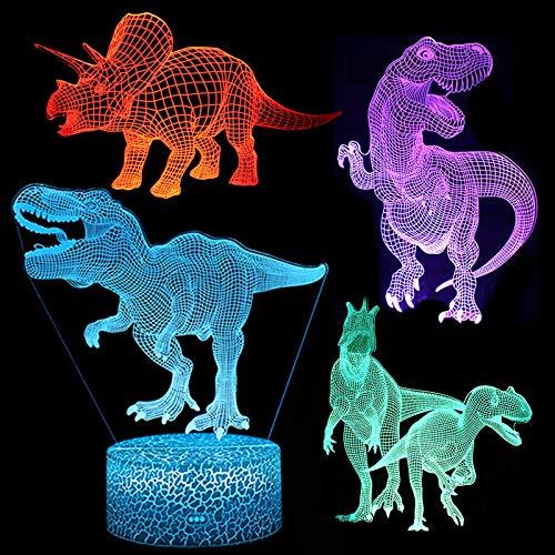 Dinosaurier Nachtlicht 3D Base für Kinder, LMIX 4 Stück Dinosaurier Modell Personalisiertes Tischlampe 16 Farbwechsel & Dimmbare Funktion Kinderzimmer Deko Geschenk
