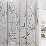 Haton Window Privacy Film Frosted Bamboo Self Static Window Cling Covering Sticker Glass Film Non-Adhesive Removable Decorative Window Decal Anti UV Sun Block Heat Control Home Office 17.5 x 78.7 in