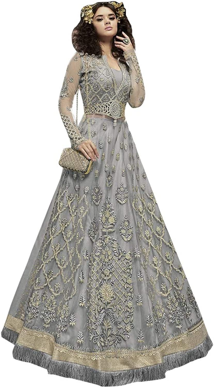 Indian Ethnic Sparkle Long Dess Salwar Kameez Suit Skirt Or Palazzo Style Party Wear 7360
