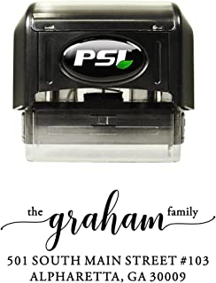 Personalized Self Inking Return Address Stamp - Family Name in Script - Pre-Inked with Black Ink