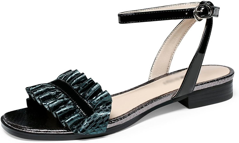 Gailongjunnvxie GLJXG kvinnor Low Heel skor Flat Sandals Damer Strappy Strappy Strappy Sandals sommar mode Sandals  märkeuttag