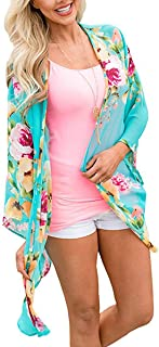 Womens Floral Kimono Cardigan Shawl Half Sleeve Chiffon Loose Bikini Beachwear Cover up