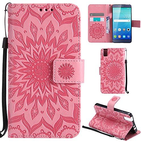 Ooboom® Huawei ShotX Hülle Sonnenblume Muster Flip PU Leder Schutzhülle Handy Tasche Hülle Cover Stand mit Kartenfach für Huawei ShotX - Rosa