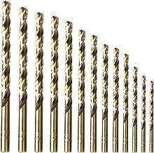 amoolo Twist Drill Bit Set (13 pcs), M35 Cobalt Drill Bit Set for Hard Metal, Stainless Steel, Cast Iron, 1/16