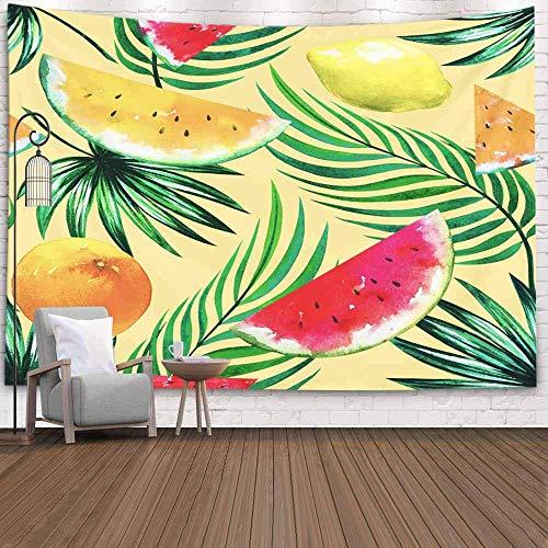 Tapiz de Puerta, Tapiz Fresco para Dormitorio, Tapiz de Frutas Tropicales, rodajas de sandía, limón, Naranja, Hojas de Palmera, Tapiz Grande para Colgar en la Pared, Tapiz de Vida, Bonito Tapiz