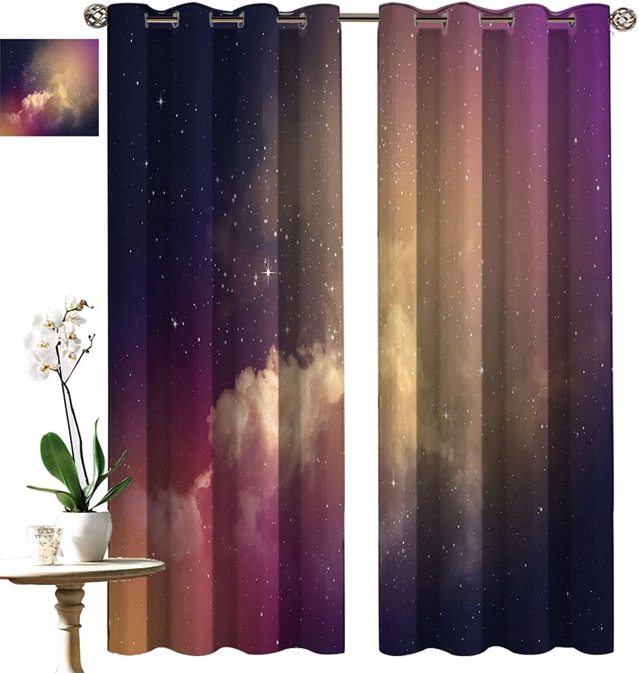 Sky Living Room Curtains Night Time Indefinitely Space and Stars with Special Campaign Clouds