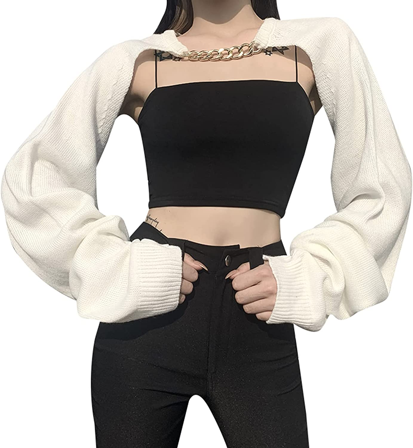 Women's Backless Cropped Shrug Casual Long Sleeve Knit Cardigan Fashion Chain Crewneck Pullover Autumn Streetwear