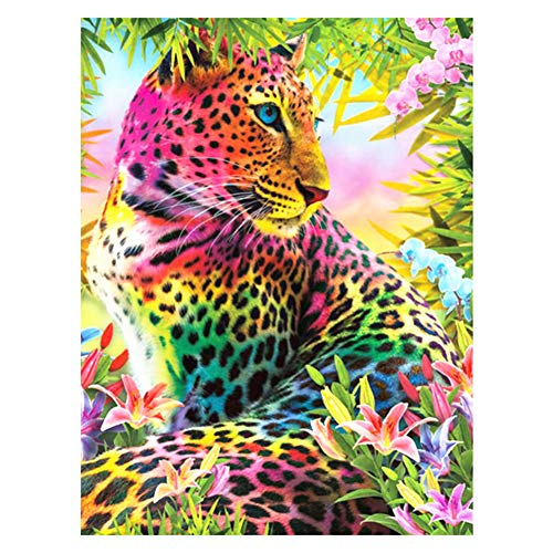 TheBigThumb Full Drill Crystal Rhinestone Embroidery Diamond Painting Kit Diamond Flowers Leopard Full Square Drill Mosaic Art Picture of Rhinestone