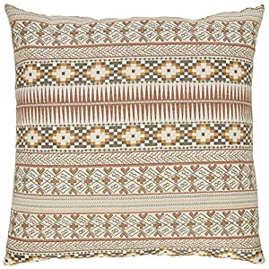 """Made in USA and imported Patterned woven stripe brings a unique, southwester flair to your space in soft, earthy tones. Back of pillow is solid taupe-colored fabric. Hidden zipper at bottom of pillow. 20""""L x 20""""W Pillow cover and insert Spot clean. P..."""