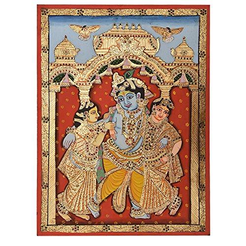 Indien étagère Peinture Faite Main de Danse Krishna Décoration Murale Pt-45