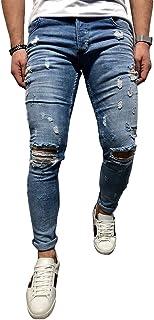 BMEIG Jeans Strappati Uomo Slim Fit Denim Distrutto Skinny Distressed Design Classico Buco Rotto Pantaloni Hiphop Lavoro ...