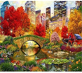 DIY 5D Diamond Painting Central Park Kit for Adults Kids Full Round Diamond Embroidery Crystal Rhinestone Pasted Painting Arts Craft for Home Wall Decor Paint 16 x 20 inch