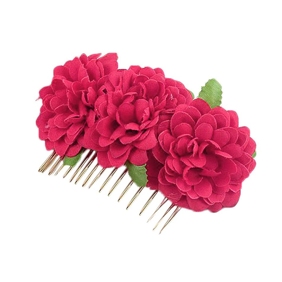 DEATU Headdress Bride Hairpin Hairpin Comb Red Double Flannel Curling Rose Hair Comb Wedding Accessories Fascinators