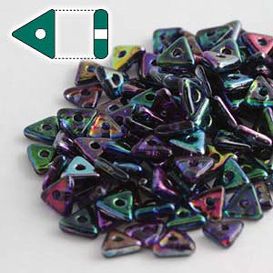 Magic Blue Czech Glass Sead Tri Beads 4.6mm Tryangle 1.3mm Thick Approx 9 Gram Tube