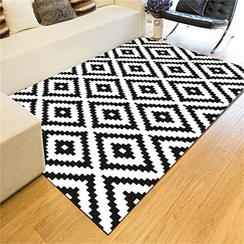 Tappeto Sala Tappeto Grande Camera Da Letto 160x200cm Tappeto rettangolare nero bianco semplice tappeto geometrico tappeto maschio moquette per bambini illuminazione tappeto Tappeto