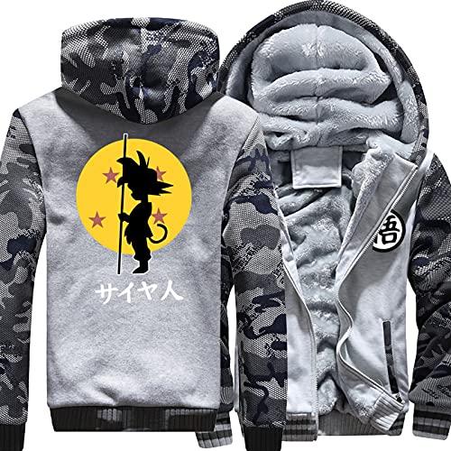 Sudaderas con capucha para hombre Sudaderas para su hijo Goku Espesar Pullover Sudadera con capucha Chaquetas de cremallera Completa Uniforme Cálido Grueso Abrigos acolchados Ropa de invierno,A-Small