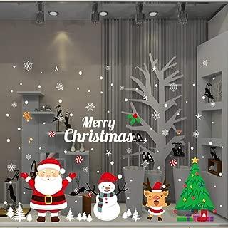 LONGTEN Merry Christmas Sticker Santa Claus Window Clings Decoration Christmas Tree Shop Mall Window Glass Wall Sticker Reindeer Christmas Snowman Snowflake Window Static Sticker Self-Adhesive (P)