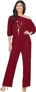 KOH KOH Womens One Off Shoulder Short Sleeve Piece Jumpsuit Pant Suit Romper