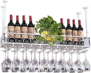 Metal Wine Racks Wall Shelf for Bar | Wine Bottle Holder Wall Hanging Mounted Adjustable Height | Suspended Ceiling Wine G...