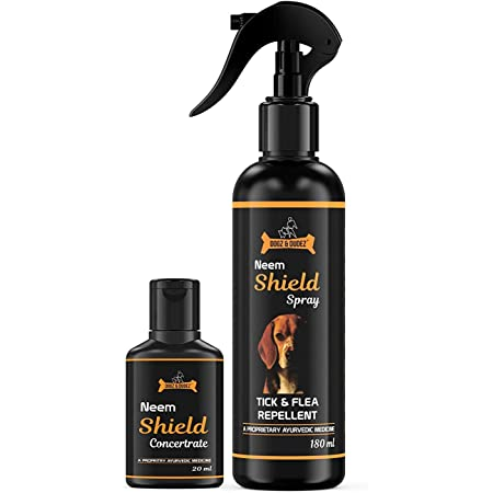Dogz & Dudez Neem Shield Tick & Flea Spray for All Breeds | Treatment and Repellent Spray for Dogs, Puppies, Cats, Home Spray - with Neem, Lemongrass, Aloe Vera - 200 Ml