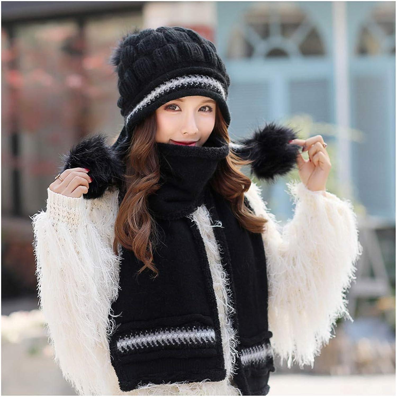 CHAXIA Hat Scarf Set Winter Female Korean Version Keep Warm Knitting Fashion Earmuffs, 11 colors (color   E)