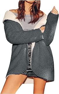 Women's Coat Casual Lapel Fleece Fuzzy Faux Shearling Warm Winter Oversized Outwear Jackets