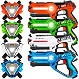 Best Choice Products Set of 4 Infrared Laser Tag Set for Kids & Adults w/ Synced Blasters & Vests Multiplayer Mode - Orange/Green/White/Blue