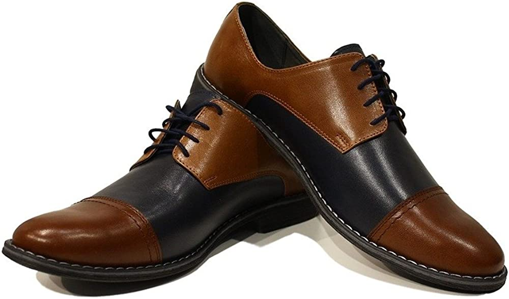Modello Vittorio - Handmade Italian Mens Color Brown Oxfords Dress Shoes - Cowhide Smooth Leather - Lace-Up