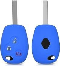 kwmobile Funda de Silicona para Llave de 3 Botones para Coche Renault - Carcasa Protectora Suave de Silicona - Case Mando de Auto Azul