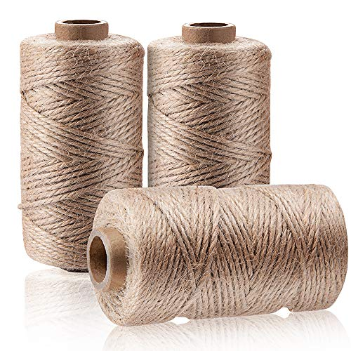 492FT Natural Jute Twine 3PCS 3Ply Natural Jute Rope Perfect for Christmas Arts Crafts Wrapping, Wedding Decorations Home Gardening Durable Packing String for Presents