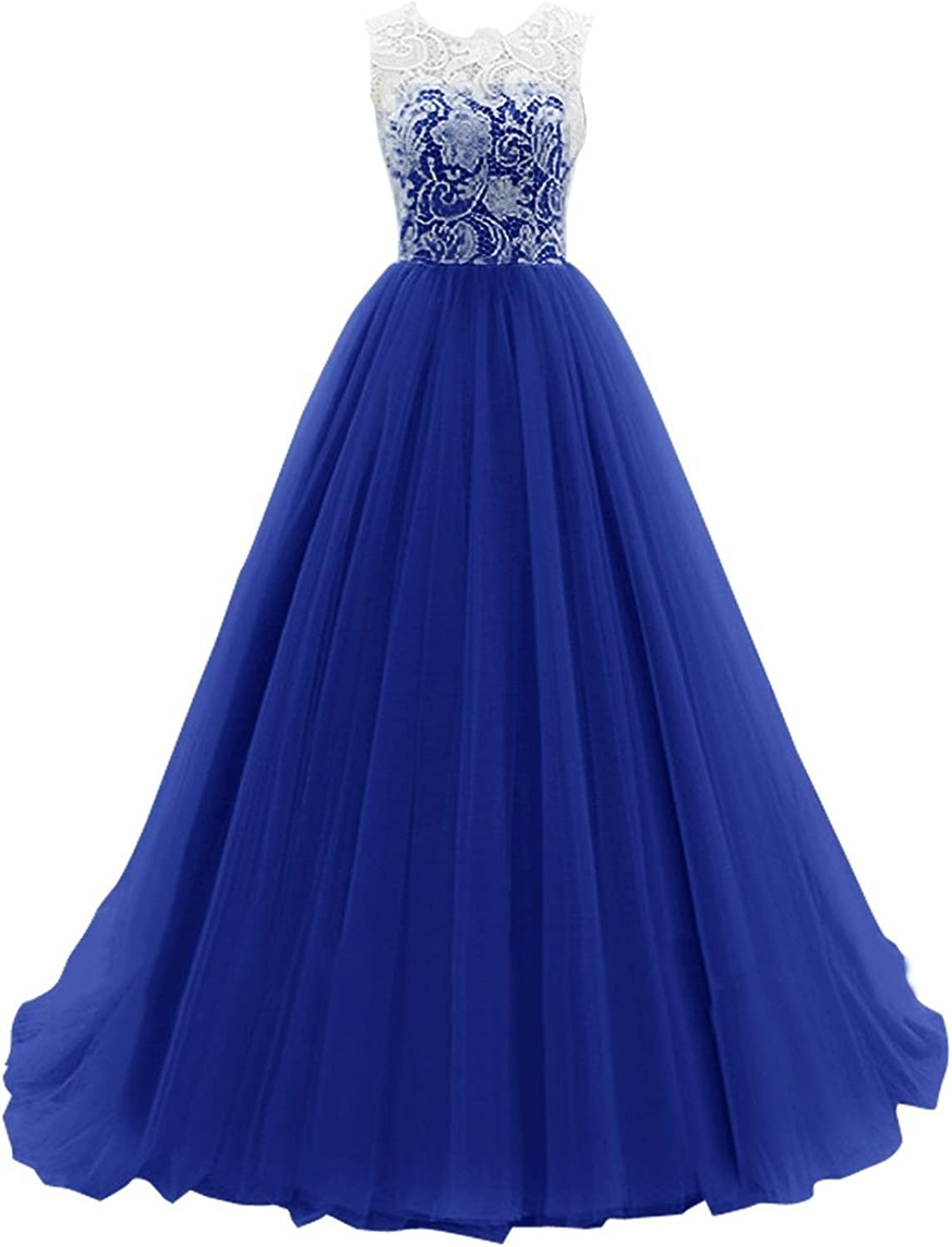 Bess Bridal Women´s Long Lace Tulle Ball Gown Formal Prom Evening Dress